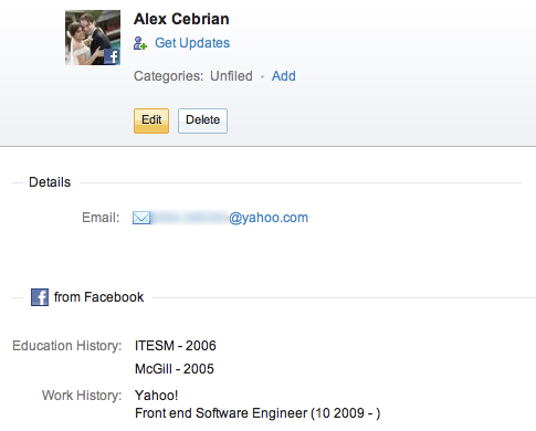 YahooMail -Now bring all  your contact's details page from facebook to yahoo mail
